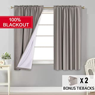 Flamingo P Window Treatment Rod Pocket 100% Blackout Curtains Waterproof Thermal Insulated Taupe Curtains with White Backing (2 Panels Set), 52 by 63 Inch,2 Bonus Tie-Backs