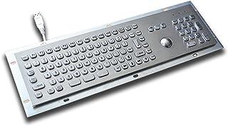 Full Size Mini Metal Keyboard with 25mm trackball - 370 x103.5mm - USB - US Layout - w/ F1-F12 Keys and Numeric keypad