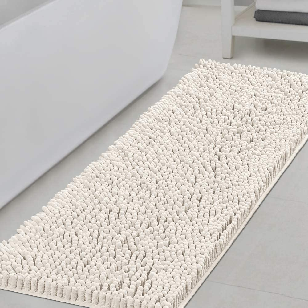 Bathroom Rugs Bath Mats for Bathroom Non Slip Luxury Chenille Bathroom Runner Rug 47x17 Extra Soft and Absorbent Shaggy Rugs Washable Dry Fast Plush Area Carpet Mats for Bath Room, Tub - Ivory