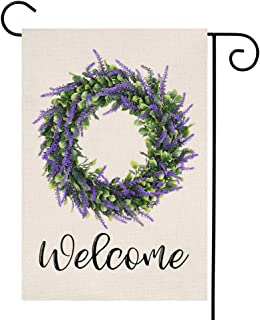 YOENYY Lavender Wreath Welcome Small Garden Flag Farmhouse Summer Fall Purple Flowers Green Leaves Burlap Vertical Double Sided Yard Decoration 12.5 x 18 Inch