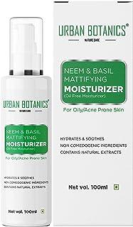 UrbanBotanics® Oil Free Moisturizer For Face - Mattyfying Moisturizer - With Neem & Basil Extract - For Normal, Oily & Acne Prone Skin, 100ml