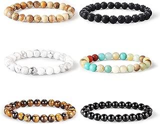 6PCS Bead Bracelet for Women Men Healing Mala Agate Stretch Prayer Beaded Bracelet