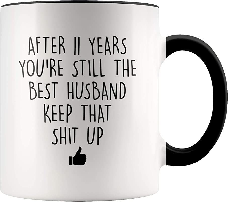 YouNique Designs 11 Year Anniversary Coffee Mug For Him 11 Ounces 11th Wedding Anniversary Cup For Husband Eleven Years Eleventh Year 11th Year
