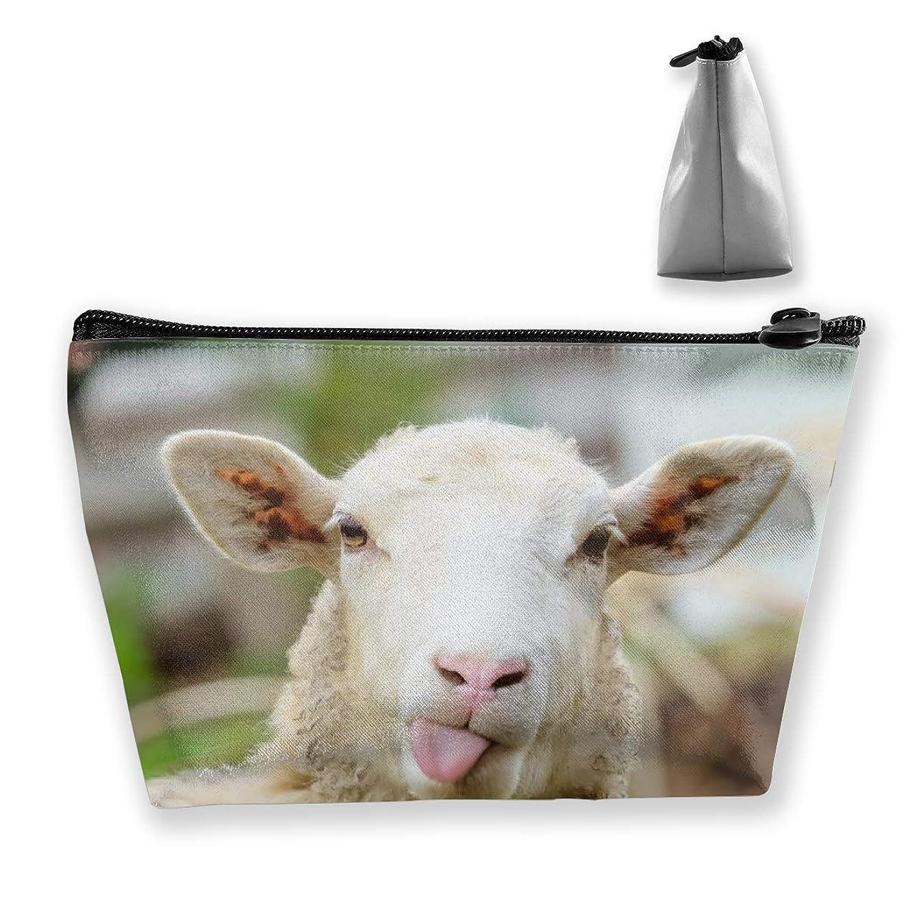 バレル進むビスケット収納ポーチ 面白いいたずらな羊 化粧ポーチ トラベルポーチ 小物入れ 小財布 防水 大容量 旅行 おしゃれ