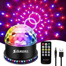 USB Boule Disco, SOLMORE éclairage de scène avec télécommande, 3 modes de commande vocale + 6 modes lumineux, boule à facettes pour Discothèque, bar, Noël.