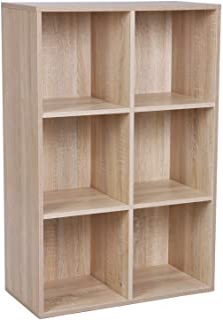 comprar comparacion VASAGLE Estantería de Madera, Biblioteca, Organizador con 6 Compertimientos, 65,5 x 30,5 x 97,5 cm, Color Roble LBC203H