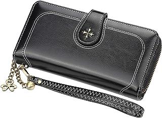 محافظ للنساء متعددة الوظائف ذات سعة كبيرة محفظة طويلة من جلد البولي يوريثان لحمل البطاقات حقيبة يد (سوداء)