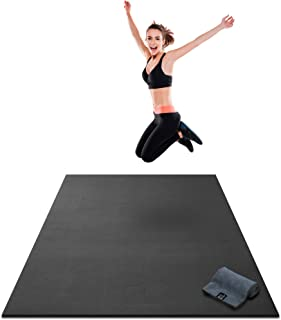 Premium Extra Thick Large Exercise Mat - 7' x 4' x 8mm Ultra Durable, Non-Slip, Workout Mats for Home Gym Flooring - Cardio, Plyo, MMA, Jump Mat - Use with or Without Shoes (84 Long x 48 Wide)