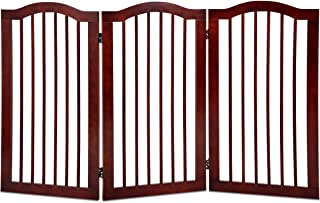 Giantex 3 Panel Wood Dog Gate Pet Fence Barrier Folding Freestanding Doorway Fence Doggie Puppy Fencing Enclosure System Indoor Safety Gate for Dogs (36'')