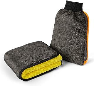 مجموعة قفازات تنظيف من الألياف الدقيقة سهلة التنظيف لتنظيف السيارات، قماش تجفيف 1200 جم/م2 + قفاز غسيل للعناية بالسيارة وا...