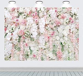 RUINI Poliéster Rosa Blanco Rosa Flor Fondo de pared Boda Ceremonia Aniversario Fiesta Decoración Fondo Recién Nacido Adul...
