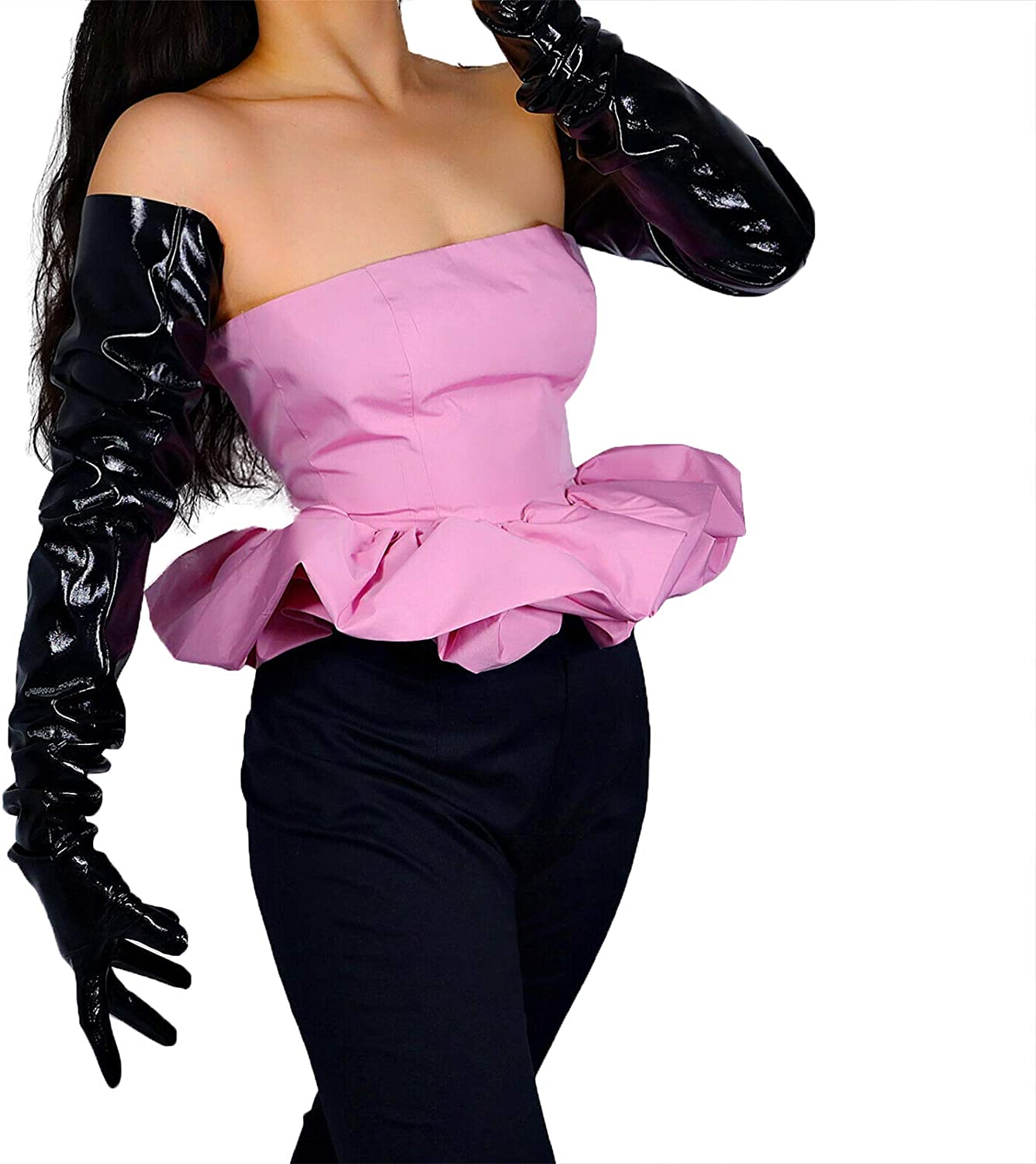 GooDay Women's Extra Long Leather Gloves Shoulder Length Faux Patent Oversize Large Arm Sleeves Unisex Shiny Black 35 inches