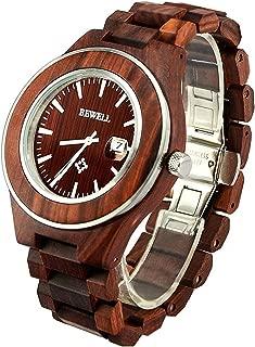 Bewell Men Wood Watch Luminous Date Display Analog Japanese Movement Fashion Unique Wristwatch