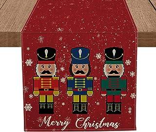 Artoid Mode Merry Christmas Nutcrackers Table Runner, Seasonal Winter Xmas Holiday Tablecloth Kitchen Dining Table Linen f...