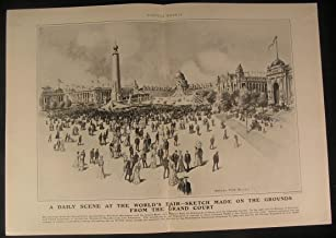 World Fair Grounds St Louis Bustling Crowd 1904 antique historical print