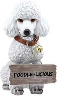 Ebros Lifelike Realistic Groomed White French Poodle Dog Fifi Welcome Greeter Statue 11.5
