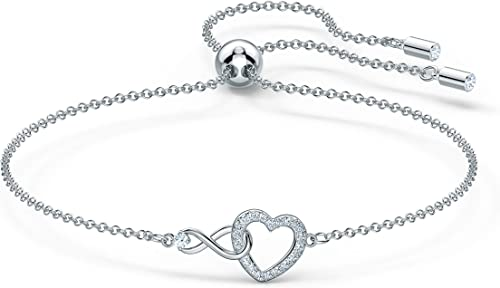 Swarovski Bracelet Swarovski Infinity Heart, blanc, métal rhodié