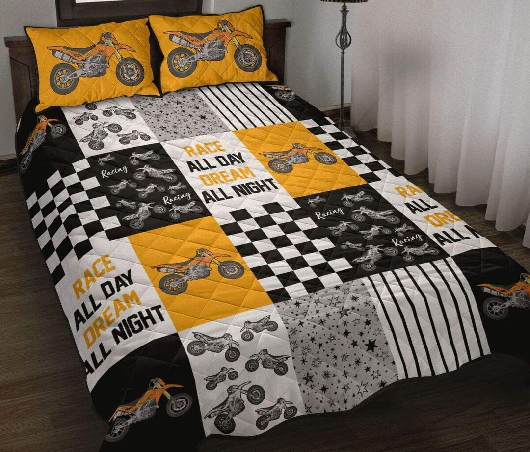 Personalized 5 ☆ very popular Supermotor Orange Quilt All-Season Sets Queen OFFicial site King