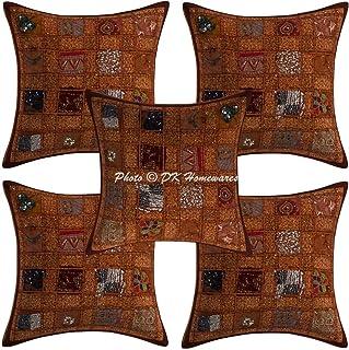 DK Homewares Traditionnelle Patchwork Coton Géométrique Marron Taie d'oreiller 40X40 Cm Fantaisie 16X16 Pouces Housse De C...
