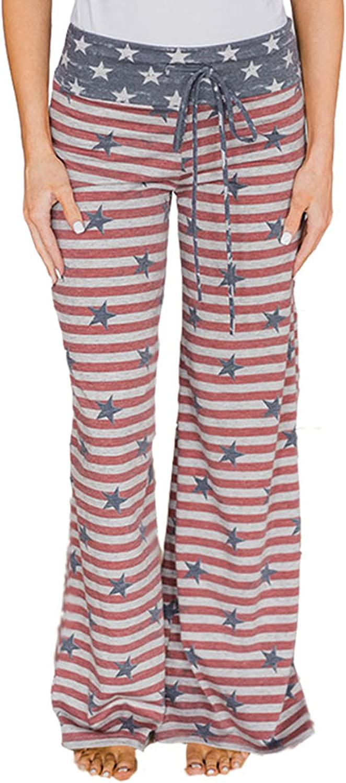 Famulily Women's Comfy Soft Stretch Wide Leg Polka Floral Print Palazzo Pajama Pants Lounge