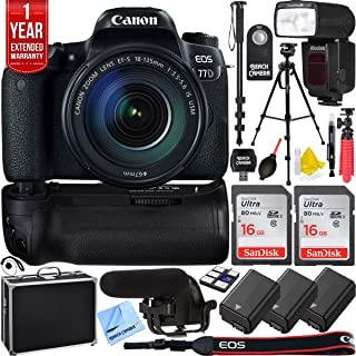 Canon EOS 77D 24.2 MP CMOS (APS-C) DSLR Camera with EF-S 18-135mm is USM Lens Bundle with 2X 16GB Memory Card, Microphone, 2X Battery and Charger, 1 Year Extended Warranty and Accessories (16 Items)