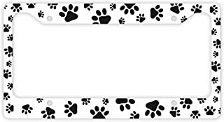ThisWear Cat Dog License Plate Frame Pawprints Cat Lover Gifts Dog Lover Gifts Kitten Puppy Paw Prints Rescue Dog Cat Novelty License Plate Frame White
