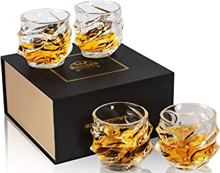 KANARS Emperor Whiskey Glasses - Oversized Rock Style Old Fashioned Glass Tumblers for Scotch, Bourbon and Cocktail - Lead Free Crystal - Set of 4 - Unique Elegant Gift Box