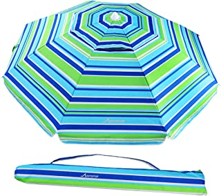 MOVTOTOP Beach Umbrella, 6.5ft Sand Anchor with Tilt Aluminum Pole, Portable UV 50+ Protection Beach Umbrella with Carry Bag for Outdoor Patio, Blue/Green