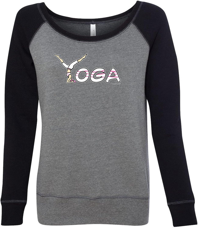 Bendy People Ladies Yoga Spelling Wide Neck Sweatshirt