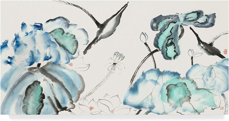 Trademark Fine Art Lotus Study with bluee Green III by Nan Rae, 10x19
