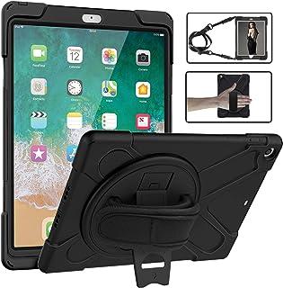 ATiC ipad 9.7 2018/2017 ケース Apple iPad 9.7インチ 第6/5世代用 保護カバー ショルダーケース 360度回転 スタンド 手持ちバンド 肩掛け 片手 掛けひも付き 子供向け 耐久性 軽量 ペンホルダー付き...