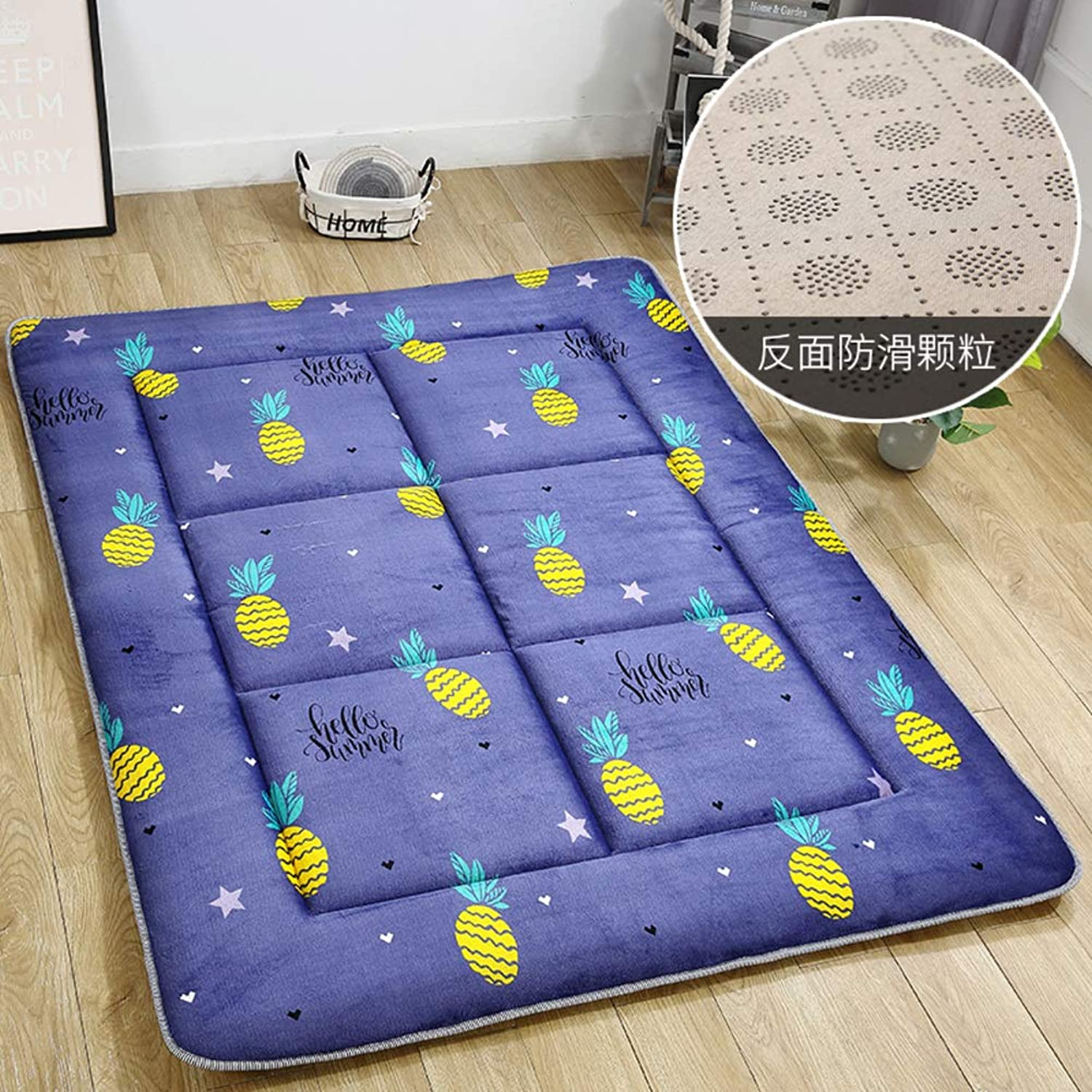 Flannel Quilted Mattress,1.5cm Thickness Foldable Printing Tatami Mattress,1.2m 1.8m Thin Section Student pad-F 135x200cm(53x79inch)