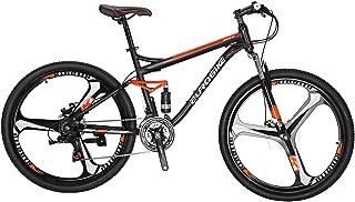 EUROBIKE Full Suspension Mountain Bike 21 Speed Bicycle 27.5 inches Mens MTB Disc Brakes Orange