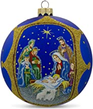 BestPysanky The Nativity Gathering on Blue Glittered Glass Ball Christmas Ornament 4 Inches