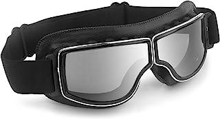 Motorcycle Goggles Vintage Anti Fog Pilot PU Leather Glasses Dustproof ATV Off Road Motorbike Helmet Eyewear Protect for R...