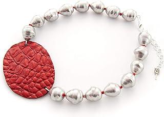 Collar corto mujer de perla artificial con óvalo de piel hecho a mano. Gargantilla de perlas barrocas grises y piel, cuero...