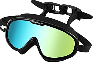 Spinosaurus Swim Goggles, Swimming Goggles-Fashionable Anti UV Wide Frame Swim Goggles with Comfortable Water Proof Seal & Easy Adjustable Anti Fog for Adult for Men & Women Youth | Free Satchel&Gift