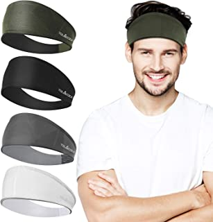 Tolaccea 4 Pack Sports Headbands Men Headband Unisex Sweatband for Workout Exercise Gym Cycling Football Tennis Baseball &...