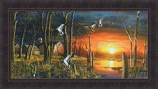 Autumn Visitors by Jim Hansel 21x37 Ducks Mallards Barn Farm Sunrise Framed Art Print Wall Décor Picture