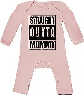 ShirtStreet Geschenkidee Gangster Hip Hop Baby Strampler Langarm Schlafanzug Jungen Mädchen Straight Outta Mommy