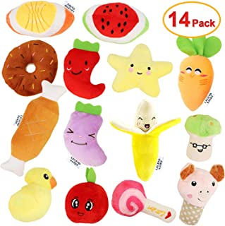 14 Pack Dog Squeaky Toys Cute Stuffed Plush Fruits Snacks and Vegetables Dog Toys for Puppy Small Medium Dog Pets