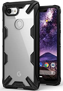 Ringke Fusion-X Designed for Google Pixel 3 XL Case Easy Unlock Squeeze Compatible Transparent Hard PC Back TPU Bumper Solid Protection Cover for Google Pixel 3 XL - Black