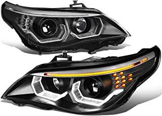 Black Housing 3D LED U-Halo Projector Headlight Lamps for BMW E60 5-Series 04-07 (Halogen Models Only)