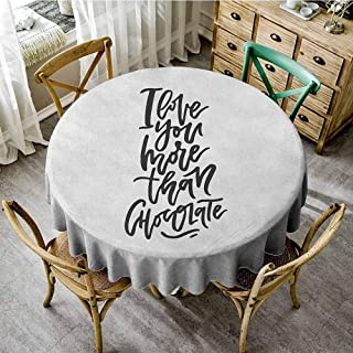 ScottDecor Christmas Tablecloth I Love You More Romantic Hand Drawn Lettering Black and White Design Chocolate Phrase Black White Dinning Round Tablecloth Diameter 60