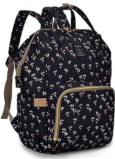 Qimiaobaby Diaper Bag Backpack, baby Nappy storage travel bag (Black flower)