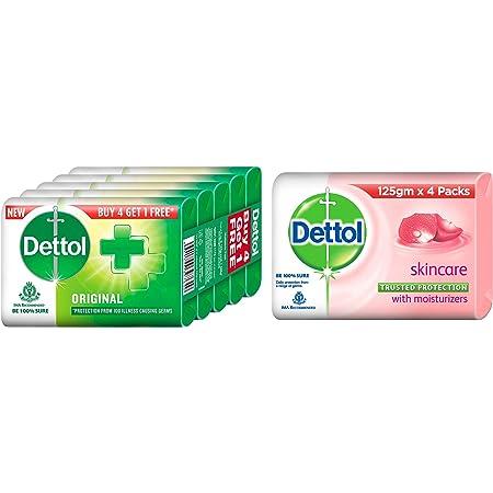 Dettol Original Germ Protection Bathing Soap bar, 125gm (Pack of 5) & Dettol Skincare Germ Protection Bathing Soap bar, 125gm (Pack of 4)
