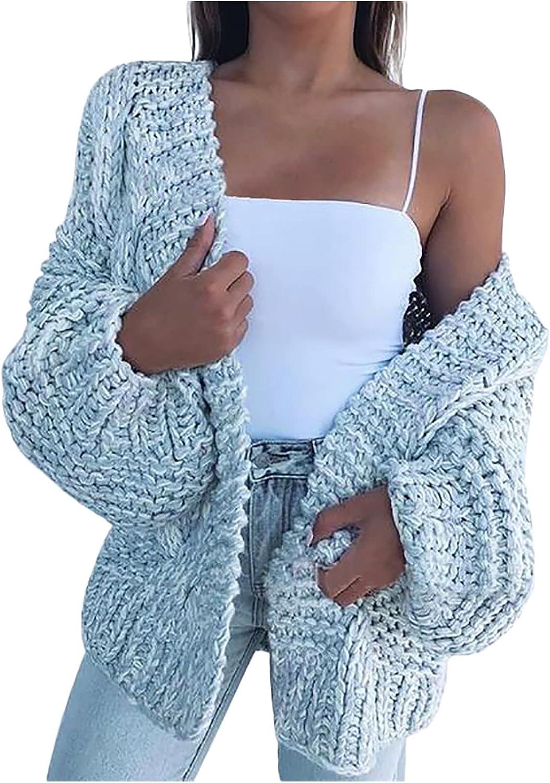 FORUU Chunky Knit Cardigan 2021,Cute Short Cardigan Sweaters for Women Solid Loose Oversized Knitwear Sweater Coat