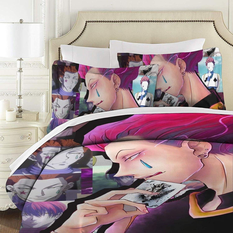 Printed Bedding Comforter Set,Japanese Anime Hunter X Hunter Killua Zoldyck Washed Bed Sheets Set,Long-lasttingGenerous Bedding Comforter Set for Spring Boys Guest roomNew Year,86x70
