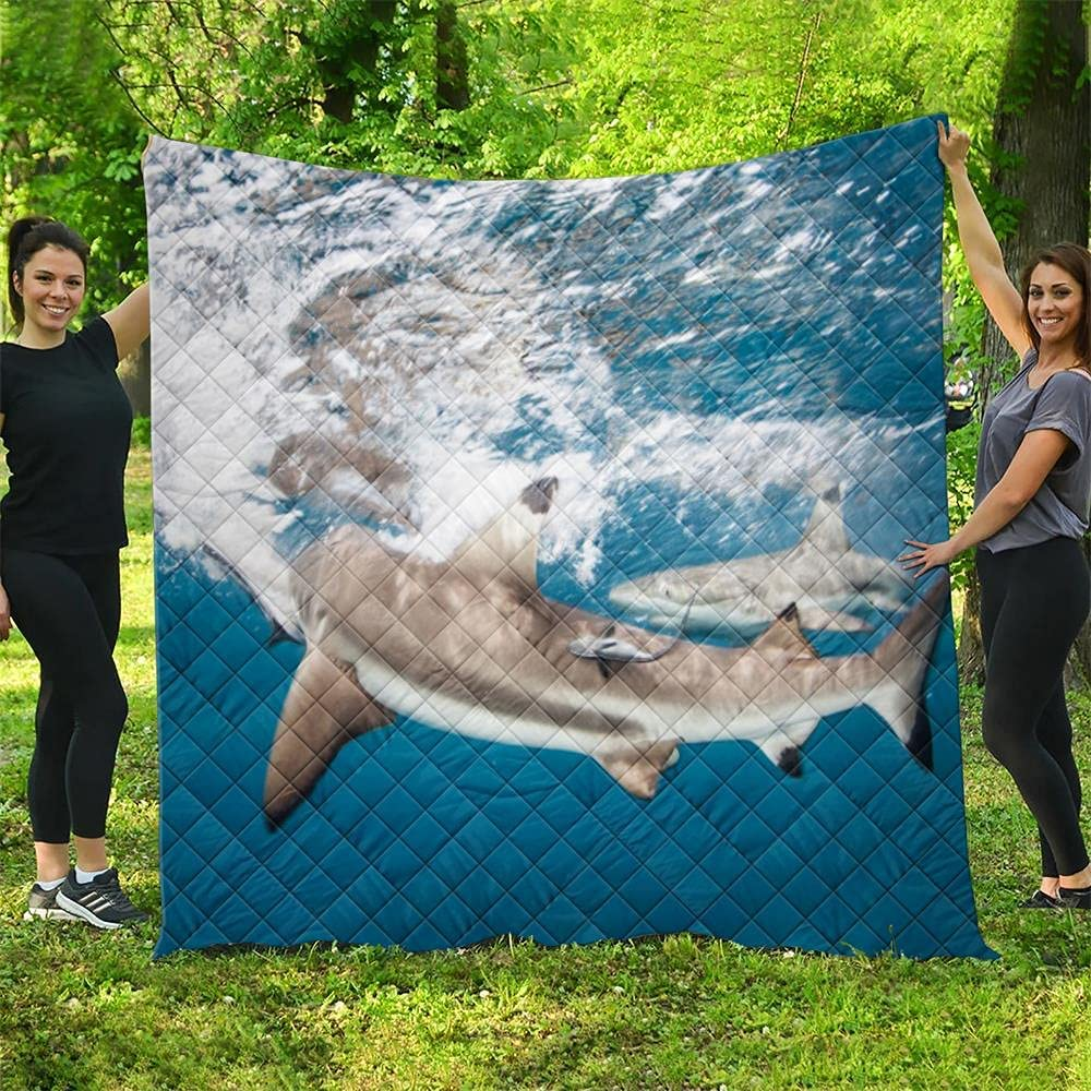 Sea Very popular World Shark Directly managed store Quilt Pattern Quilted Blankets Season Gifts All