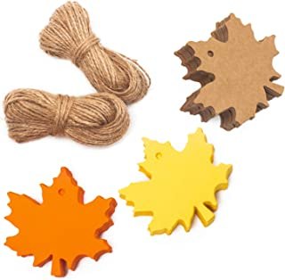 Whaline 150 Pcs Gift Tags Maple Leaves Favor Paper Tags Favor with 131 Feet Natural Jute Twine for Autumn, Thanksgiving, Wedding, Craft Presents (3 Colors)